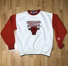 Vintage Starter Chicago Bulls Michael Jordan Crewneck Sweatshirt White Red Sz M