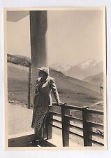 PHOTO ANCIENNE Montagnes Femme Casquette Alpes d'Huez 1953 Paysage Été