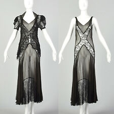 XS 1930s Black Dress Matching Jacket Sheer Silk Chiffon Lace Bias Gown 30s VTG