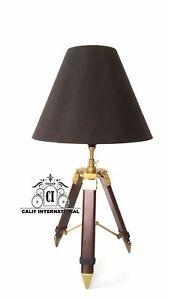 Vintage Table Shade Desk Lamp Telescopic Tripod Stand Bedroom Nautical Marine