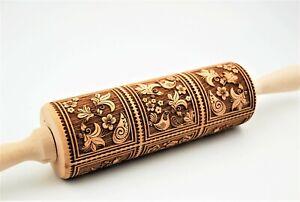 Engraved Wooden Rolling Pin Springerle Cookies Carved Molds Embossed Roller