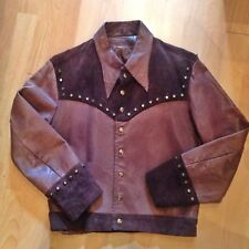 """VINTAGE MENS 1970s 1960s BROWN LEATHER STUDDED JACKET 38"""" SMALL ROCKER STAGEWEAR"""