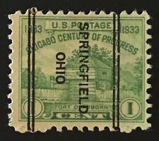 Springfield, Ohio DLE Precancel - 1 cent - Century of Progress (U.S. #728) OH
