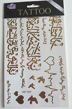 Planche de 16 Tatouages éphémères métallique waterproof Tattoo caligraphie arabe