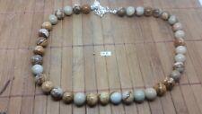 JASPE PAYSAGE collier perles 10 mm - longueur 45 cm REGLABLE lithotherapie reiki