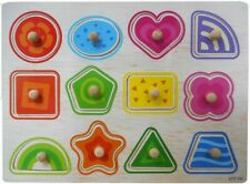 Children Wooden Board Peg Puzzle Jigsaw Shapes Baby Kid Educational Toys