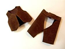 """Kelly Chelsea Tommy Small Doll Clothes *4"""" Brown Western Cowboy Chaps & Vest*"""