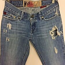 H CO HOLLISTER Jeans JUNIORS Size 1R Low Rise DISTRESSED  Flared WIDE LEG