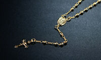 """Sevil 18k Gold Plated 18"""" Religious Guadalupe With Rosary Cross Charm"""