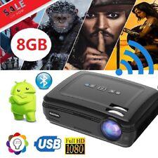 Android 6.0 Projector 3D 1080P HD WiFi Bluetooth 8GB Heimkino Beamer Film Video