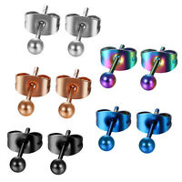 10pcs Men's Womens Polished Stainless Steel Round Ball Ear Stud Earrings 3mm-8mm
