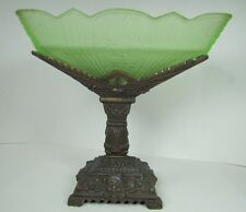 Antique Art Deco Compote lovely ladies faces green glass center dish ornate dtl