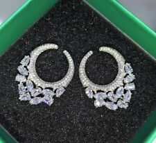 18k White Gold Earrings made w/ Swarovski Crystal Sparkling Stone Hoop Earrings