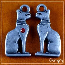 Egyptian Bast charm w rhinestone ~PACK of 2~ cat god ancient Egypt metal pendant