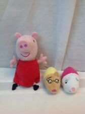 """Peppa Pig 8"""" Stuffed Plush Toy Animal with two minis lot of 3"""