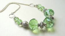 "Collar Necklace 16"" Green Faceted Glass Briolette Bead  Silver KCJ394"