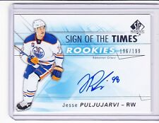 2016-17 SP Authentic JESSE PULJUJARVI RC Auto Sign Of The Times 196/199 OILERS