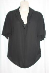 Lane Bryant Womens Black Jersey Knit Crinkled Back Batwing Sleeve Top Plus 18/20