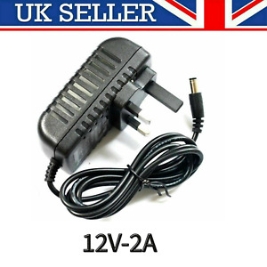 12V 2A AC DC ADAPTOR UK POWER SUPPLY ADAPTER MAINS LED STRIP TRANSFORMER CHARGER