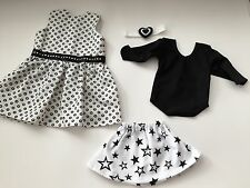 "Doll Clothes Made in USA for 18"" American Girl dolls LOT Black & White"