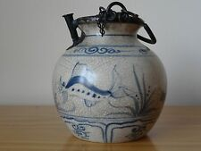 c.16th- Antique Chinese Ming Blue & White Porcelain Swatow Ware Pot Smoking Pipe