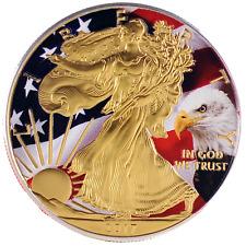 2017 1oz Ounce American Silver Eagle Coin Gold Gilded Colorized Flag Bald Eagle
