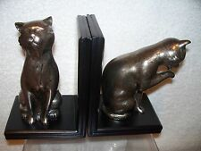 "KITTY CAT BOOKENDS NEW WOOD RESIN 6.25"" FIGURE STATUE DECOR"