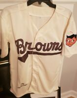 Throwback Satchel Paige St Louis Browns Mens Size Small Replica Baseball Jersey