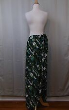 Rose Marie Reid Sarong Wrap Swim Suit Cover Up Skirt Green Stripe Floral #2285