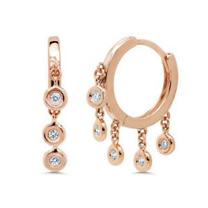0.16CT 14K Rose Gold Round Real Diamond Dangle Bezel Shaker Hoop Huggie Earrings