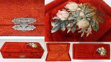 RARE Antique Victorian RED Velvet Celluloid Roses Flower Dresser Box GORGEOUS