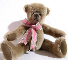 Mohair Bear Jointed Glass Eyes Brown Hump on Back 8.5 in. tall Plush Excellent