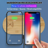 2 in 1 10W USB QI Wireless Charger Wood Fast Charging Pad for iPhone for Airpods