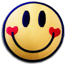 Smiley Face and Heart Patch Iron on Boho Hippie Cute Fun Retro Applique Kitsch