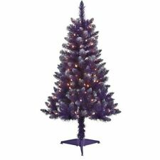 New 4' Pre-Lit Purple Christmas Tree Glitter Tips with Clear Lights