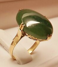 VINTAGE 14kt ROSE GOLD LARGE 18mm X 13mm A GRADE GREEN OVAL CABOCHON JADE RING