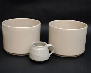"""Pair C-7 Gainey Pottery Planters Speckled Cream Matte White Oatmeal 6""""x 8"""""""