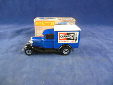 Matchbox Superfast MB-38e Ford Model A Van Champion Spark Plugs Dark Blue Body
