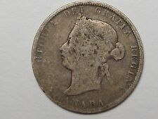 1874 H Silver Canadian Twenty-Five Cent Quarter. 25c. CANADA.  Victoria.  #2