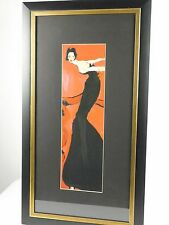 Hollywood Regency Sexy Lady Black Dress Framed Matted Wall Decor Large Print