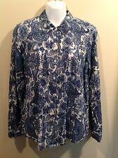 DRESSBARN Long Sleeve Blue PAISLEY Lightweight TOP BLOUSE shirt Women's Size M