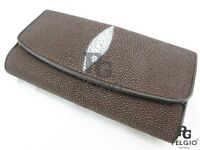 PELGIO Genuine Stingray Skin Leather Women Trifold Clutch Wallet Purse Brown New