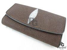 PELGIO Genuine Stingray Skin Leather Women Trifold Clutch Wallet Purse Brown New