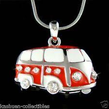 Cute w Swarovski Crystal Red ~Volkswagen VW Bus Van Vanagon Car Pendant Necklace