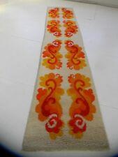 70's flower orange Mid Century Modern Vintage Shag runner Rug carpet danish art