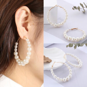 Damen Tropfen Ohrringe Rund Perlen Ohrhänger Ohrring Ohrschmuck Modeschmu*.
