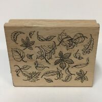 Greenbrier International Rubber Stamp Falling Leaves Fall Autumn Wood-Mounted