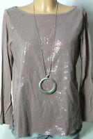 stile benetton Shirt Gr. M mauve/lila Damen Langarmshirt/Shirt mit Pailletten
