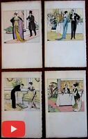Art Deco Fashion Illustration c. 1920's lot x 4 splendid hand color prints