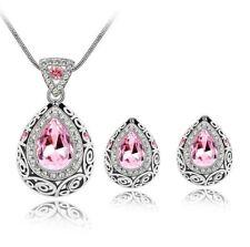Blue Sapphire Topaz 925 Silver Necklace Pendant Earrings Jewelry Set Wedding Hot